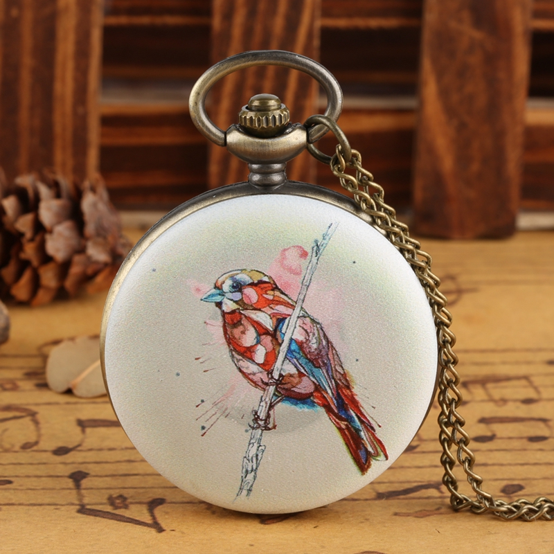 3D Bird On The Tree Pattern Quartz Pocket Watch Birds Pendant Necklace FOB Clock Pendant Chain Jewelry Gifts For Men Women Kids