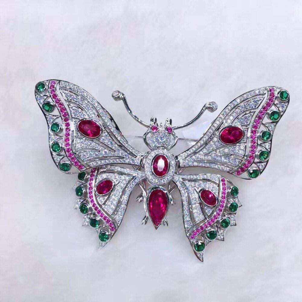 Высокое качество 925 стерлингового серебра с кубическим цирконием булавки, брошка, бабочка для женщин ювелирные изделия многоцветные pave stone