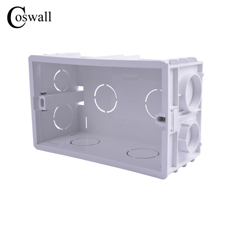 Coswall New Wall Mounting Box Internal Cassette White Back Box 137*83*56mm For 146mm*86mm Standard Switch and Socket()
