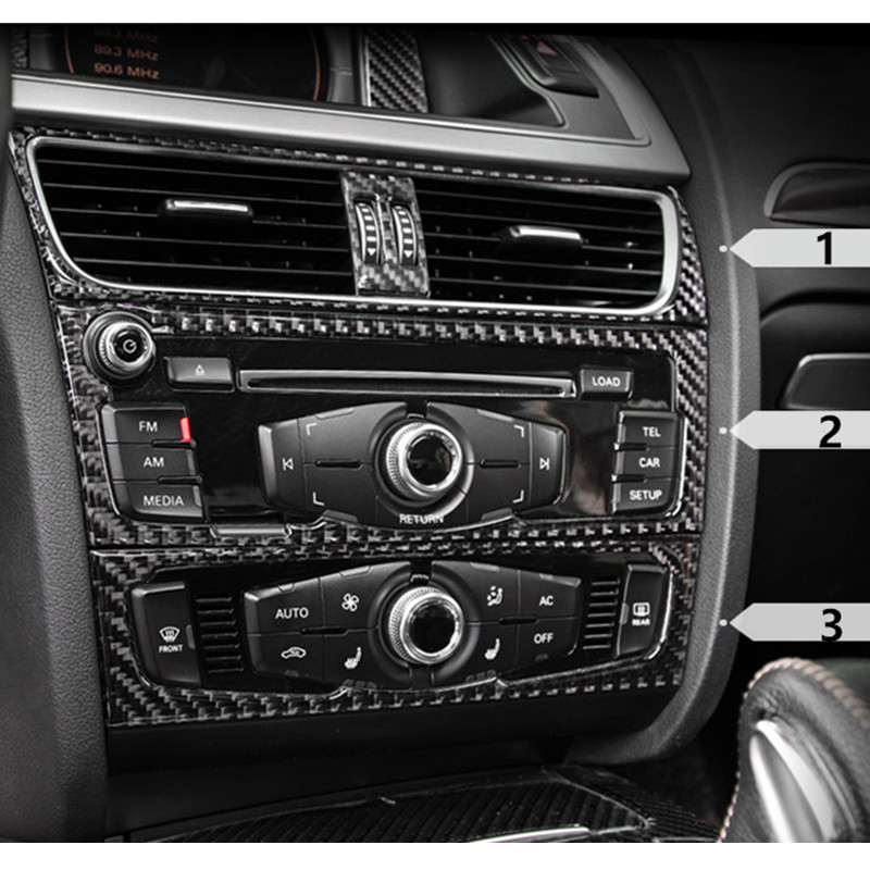 carbon fiber interior control cd panel cover trim for audi. Black Bedroom Furniture Sets. Home Design Ideas