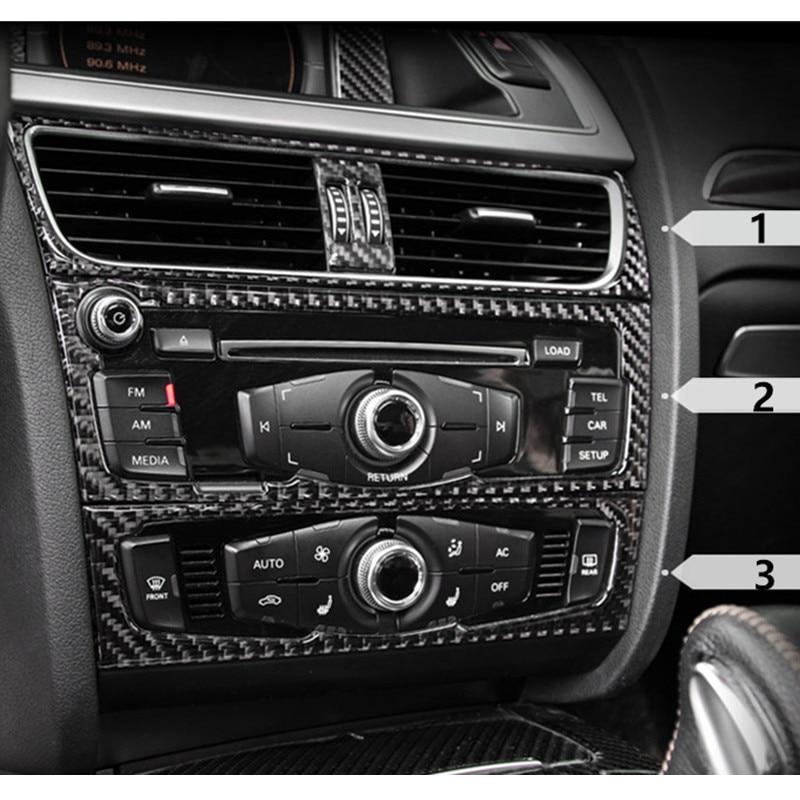 Carbon Fiber Interior Control CD Panel Cover Trim For Audi