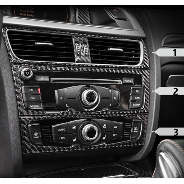Carbon Fiber Interior Control CD Panel Cover Trim For Audi A4 B8 A5 Air  Conditioning Outlet