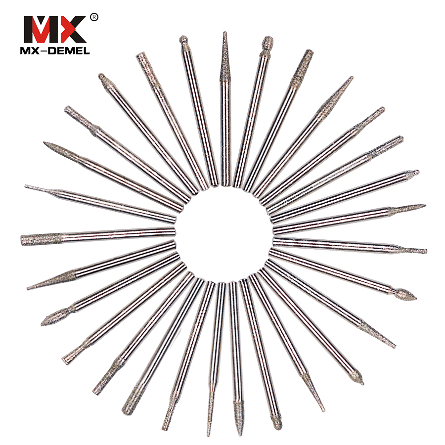 MX-DEMEL 30pcs DIAMOND BURR Bit Set For 1/8
