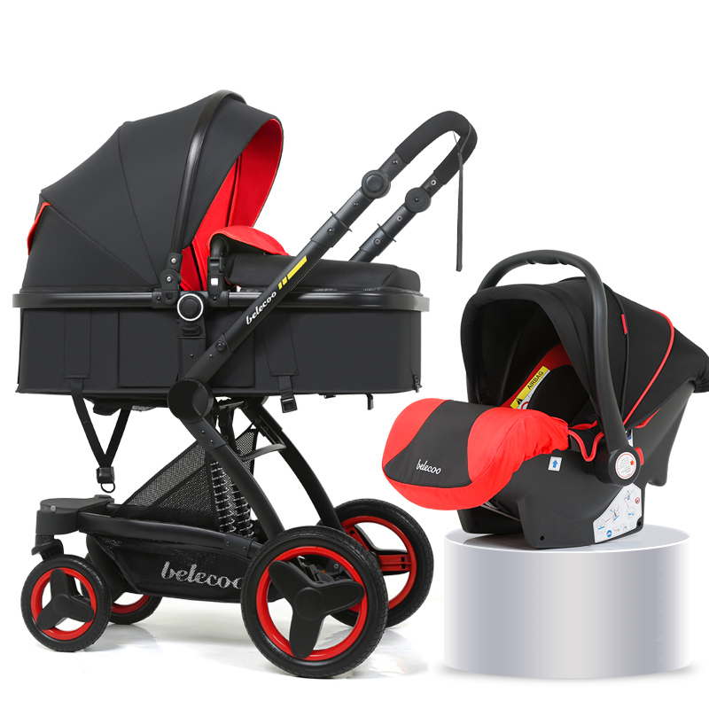Luxury Baby Stroller 3 in 1 With Car Seat High Landscape Pram For Newborns Travel System Baby Trolley Walker Foldable Carriage(China)