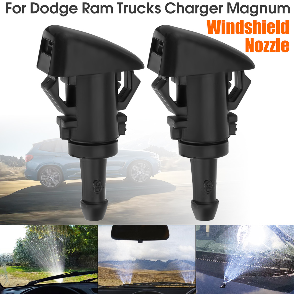 2Pcs Car Windshield Washer Wiper Water Spray Nozzle 47186 For Chrysler 300 For Dodge Avenger For Jeep For Compass Charger
