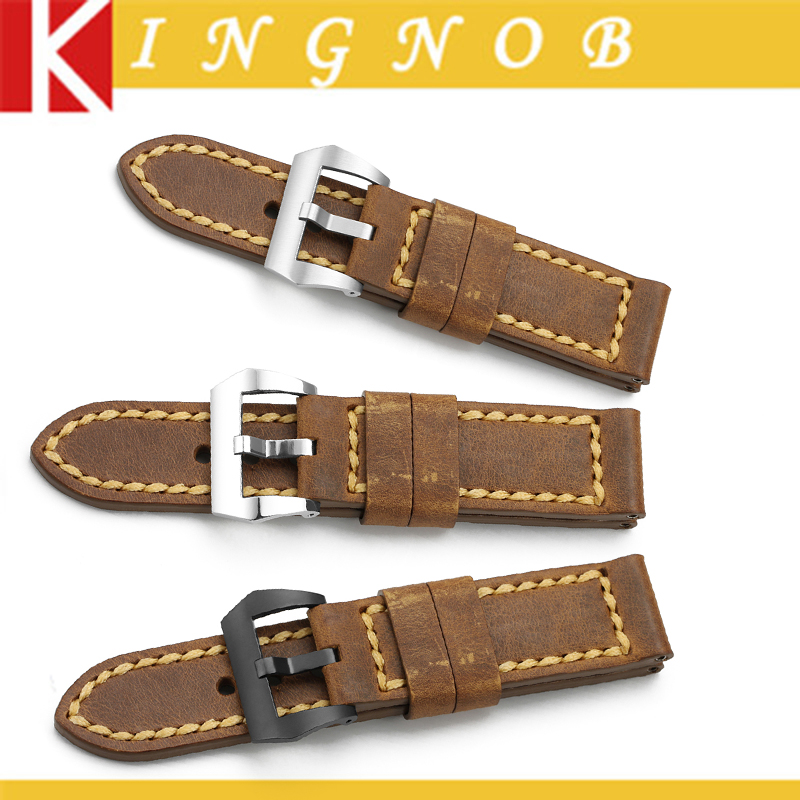 24 mm Watch Band Handmade Genuine Italy Calf Leather Vintage Watch Strap Steel Tang Buckle Watchband
