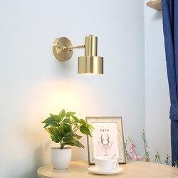 Nowoczesne Nordic LED kinkiet światła oprawy mosiądz miedź salon łazienka lustro światła ścienne w stylu Vintage kinkiet obok lampy