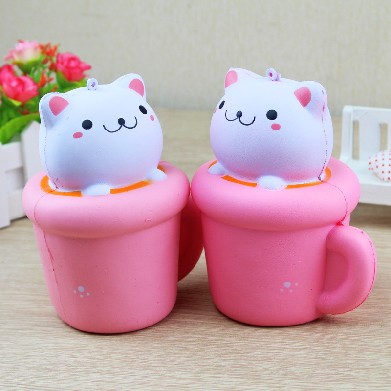 Zhenwei Squishy Toys Slow Rising Panda Cup Jumbo Squishi Squeeze Toy Squishes No Sound Decoration Kindergarten