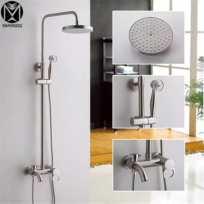 Badthroom Shower Set  Shower Single Handle Brushed Nickel Shower Set Torneira Rainfall Shower Head Bathroom Faucets Mixer Tap