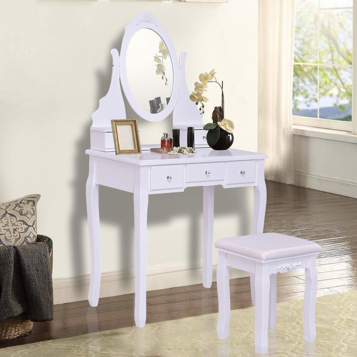Giantex белый тщеславие ювелирные изделия деревянный макияж набор для туалета с зеркалом стула и 5 ящиками современная мебель для спальной Hw55564
