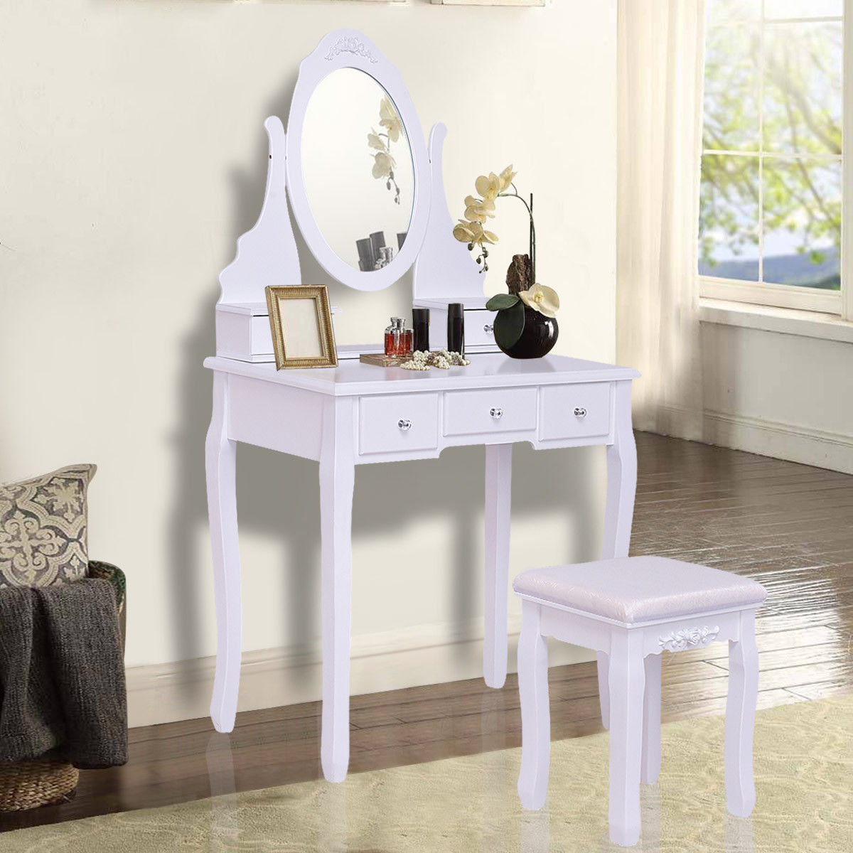 Giantex White Vanity Jewelry Wooden Makeup Dressing Table Set with Stool Mirror & 5 Drawers Modern Bedroom Dressers HW55564 ship from germany makeup dressing table with stool 7 drawers adjustable mirrors bedroom baroque style