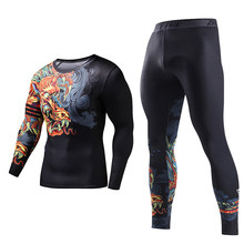 ZRCE Costume 3d Chinese Dragon Tracksuits Plus Size Skinny Men Compression Two Piece Set Funny T Shirt Fashion Full Men Suits(China)