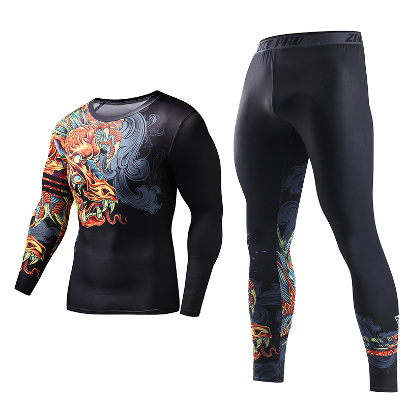 ZRCE Men Costume 3d Printed Sport Suit Chinese Dragon Tracksuits Compression Two Piece Set Rashgard T Shirt Fashion Men Set
