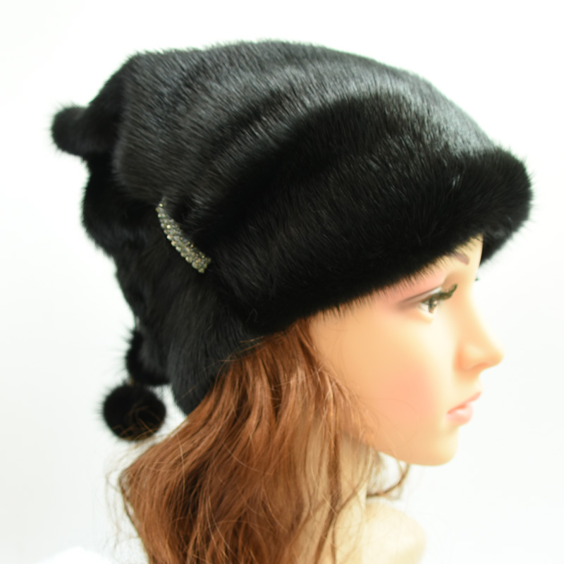Genuine Whole Mink Fur Winter Hats For Women With Fur Pompons Elegant Solid Warm Beanies And Caps Female