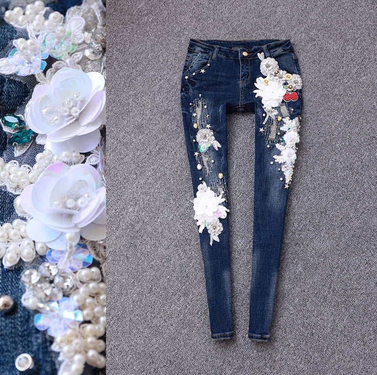 2017 spring brand women's fashion luxury three-dimensional heavy flower flowers bead pierced feet jeans female напольная плитка impronta ceramiche marmol d digit travertino rett lapp 49 5x49 5