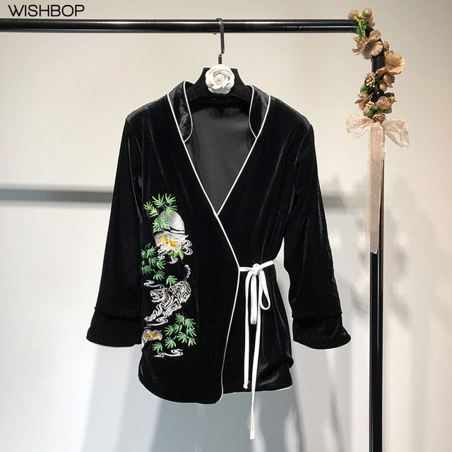 WISHBOP NEW 2018 Spring Black Flowers Embroidery Velvet Jacket pajamas  style V-neck Piping trim Wrap Front With Belt Fastening 231423754a5c