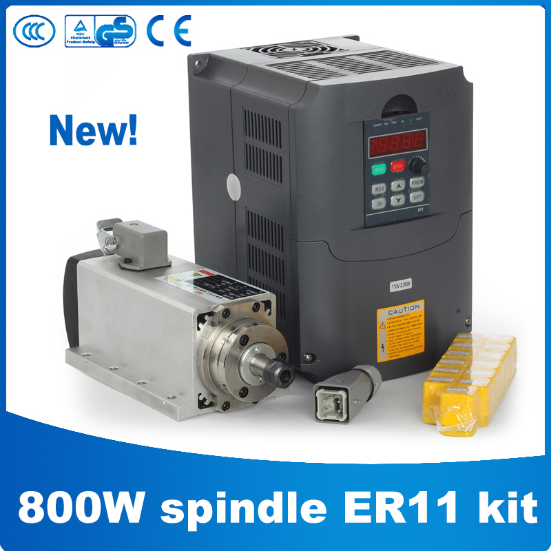 Zhong Huajiang CNC Router Spindle 800W Air Cooled Spindle Kit 800W Spindle + 1.5KW/220V Frequency Inverter + 13pcs ER11 Collet цена