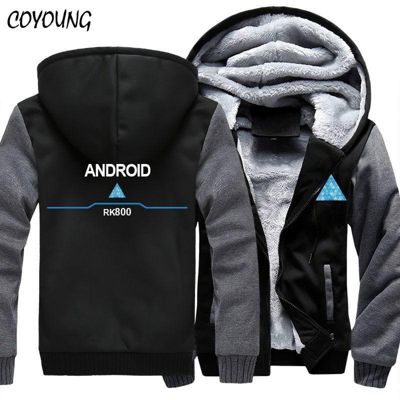 USA Size Game Detroit Becomes Human Hoodies Men Women Unisex Hoodies Thicken Jacket Zipper Coat Clothing