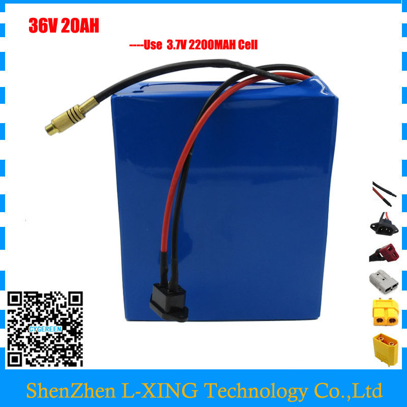 36v lithium battery 20ah 1000W 36 V 20AH scooter ebike battery use 3.7V 2200mah 18650 cell 30A BMS 2A Charger Free customs fee
