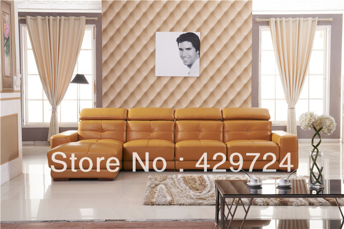 Free Shipping Door to Service 2013 latest home designs Moden Top Grain leather Corner Sofa Set Home Furniture  AA010