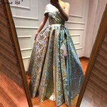 Mais novo designer bordado vestido longo noite 2020 sexy fora do ombro moda vestidos de noite sereno colina la6525