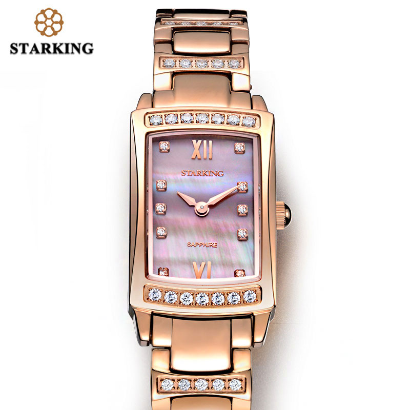 STARKING Watches Bracelet Rose-Gold Women Luxury Relogio Feminino with Cz-Stone Full-Steel