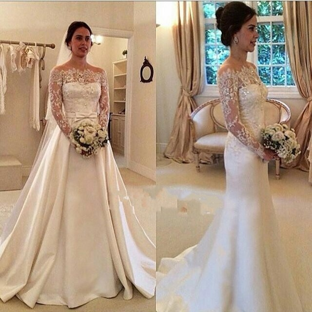 2017 Two Kinds Of Style Lace Long Sleeve Wedding Dress 2016 Sexy Off