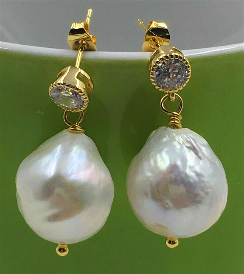 Cultured Natural HUGE 20-25MM White PEARL PENDANT 18K party hand-made teardrop