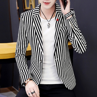 Hairstylist Men's Spring Blazers Jacket Korean Style Striped Boys Club Short Coat Casual Top Khaki Navy Black One Button Jackets