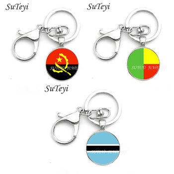 Silver Color Key Chain Angola and Benin and Botswana national flags Cabochon Pendant jewelry Key Ring for Women lovers gift image