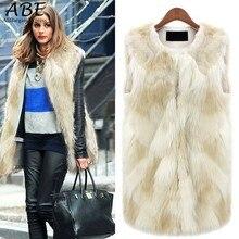 New Women 2016 Plus Size Faux Fur Vest Fur femme Vest OutwearCoat Special Slim Ladies Coats of Fur 5 sizes