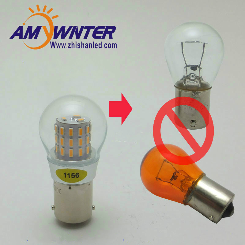 AMYWNTER 12V 1156 led P21W 1157 P21/5W S25 Car LED Turn Signal Auto Reverse Lamp Bulb PY21W Amber Yellow 4W