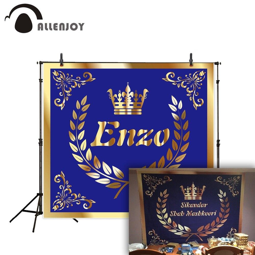 Allenjoy fotoaparát fotografie modrá Crown Nádherná zlatá královská narozeniny pozadí Promoce pozadí pro fotografické studio