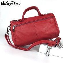 NIGEDU brand ladies genuine leather handbags rivet Boston bag Women  Shoulder Crossbody Bags 2019 New Women s Totes bolsa feminin 666231642073c