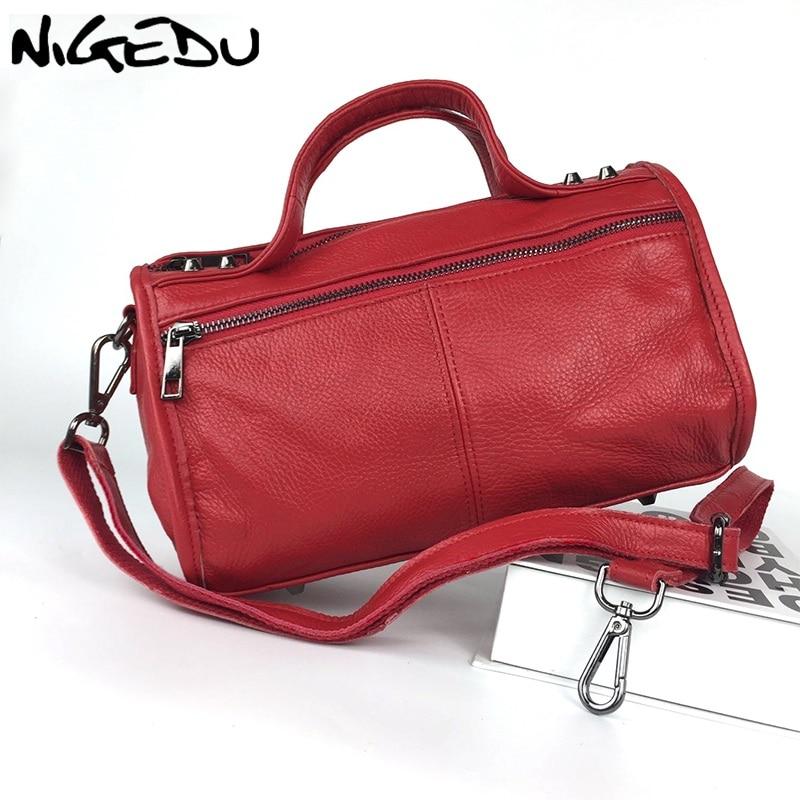 b896a09a8b41 Detail Feedback Questions about NIGEDU brand ladies genuine leather handbags  rivet Boston bag Women Shoulder Crossbody Bags 2019 New Women s Totes bolsa  ...