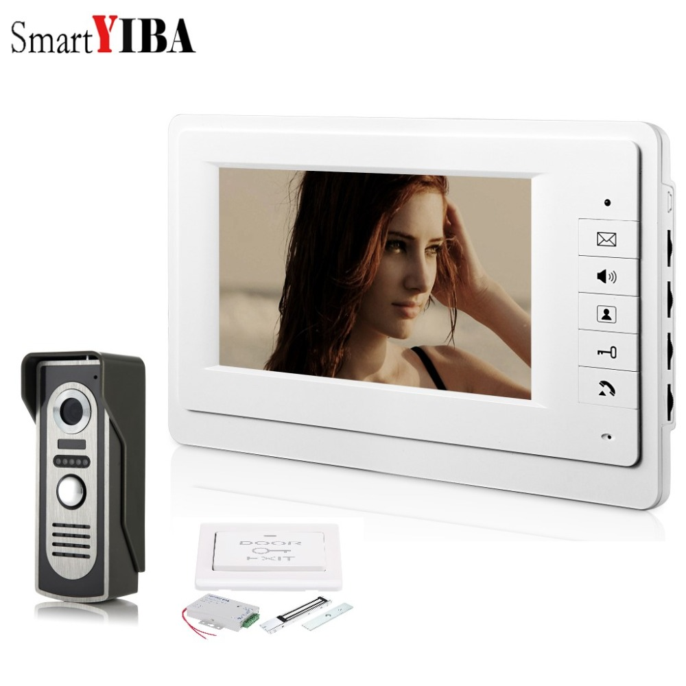 SmartYIBA 7 Inch Video Door Phone Doorbell Wired Video Intercom Wired Door Bell Home Security System