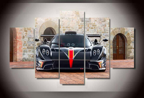5 panel framed printed sports car painting wall art childrens room decor print poster picture canvas