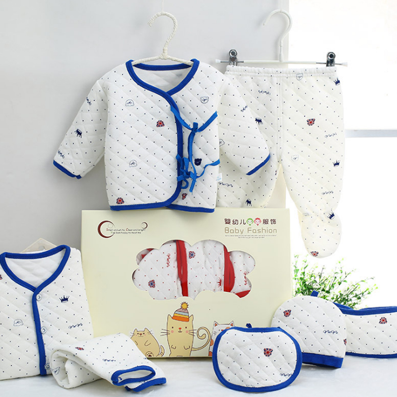 Winter Keep Warm!7 Pcs/Set Cotton Newborn Baby Clothing Set For Girls Boys Toddler Baby-clothes Newborn Gift Set Soft Cute