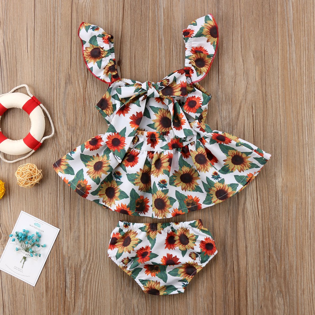 Newborn Infant Baby Girl Kid Summer Backless Flower Dress Bottoms 2 Pcs Clothing Set Clothes Outfit 2019 in Clothing Sets from Mother Kids