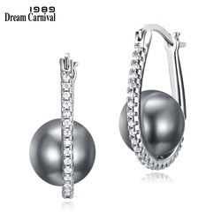 Dreamcarnival 1989 Synthetic Round Grey Pearl Oval Hoop Rhodium Earings for Women White Zirconia Paved Wholesale Discount WE3721