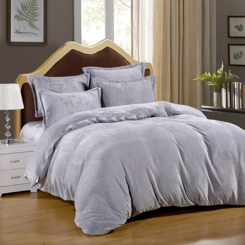 king queen full twin size / thermal comfort pure color farley velvet 4 pcs