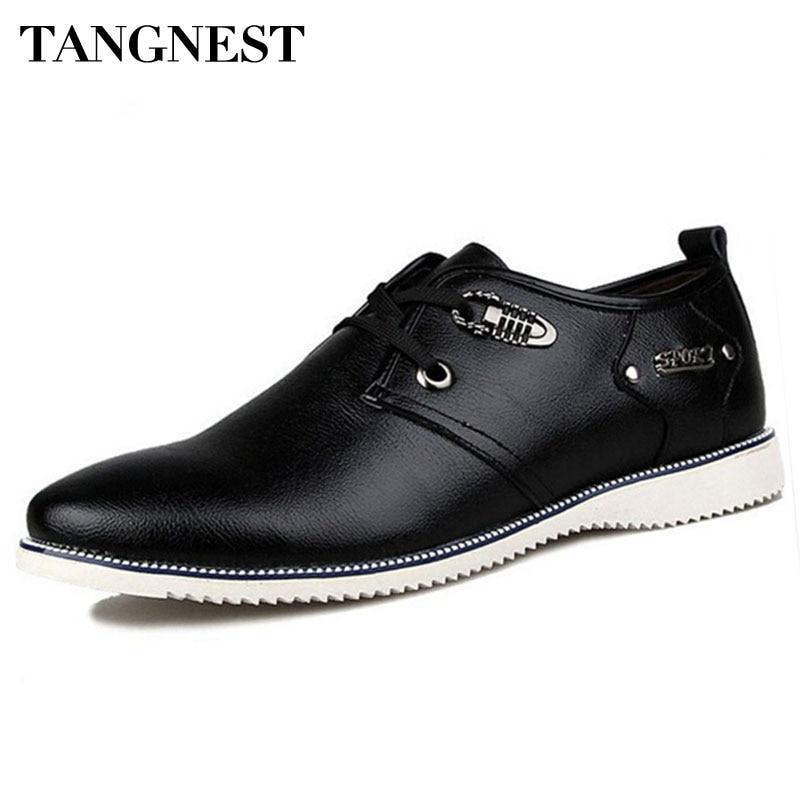 Tangnest Men Flat Shoes Leather Lace Up Men Business Shoes Casual Plain Round Toe Oxfords Wedding Dress Shoes Size 38-44 XMP424