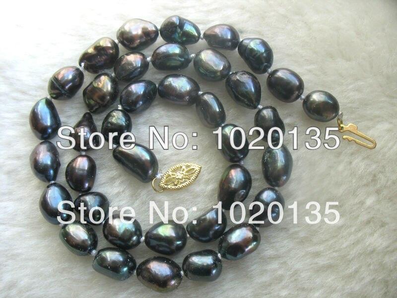 """¡Wow! Perla de agua dulce negro barroco 8-10mm collar 16 """"naturaleza FPPJ"""