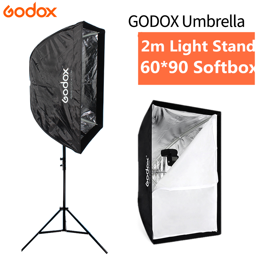 Godox Portable Umbrella Softbox 60x90cm Soft Box Reflector + 2m Light Stand for Photo Studio Photography Kit Flash Speedlight hpusn photography studio heavy duty 280cm light stand lightting kit for flash softbox umbrella support 3 direction mount