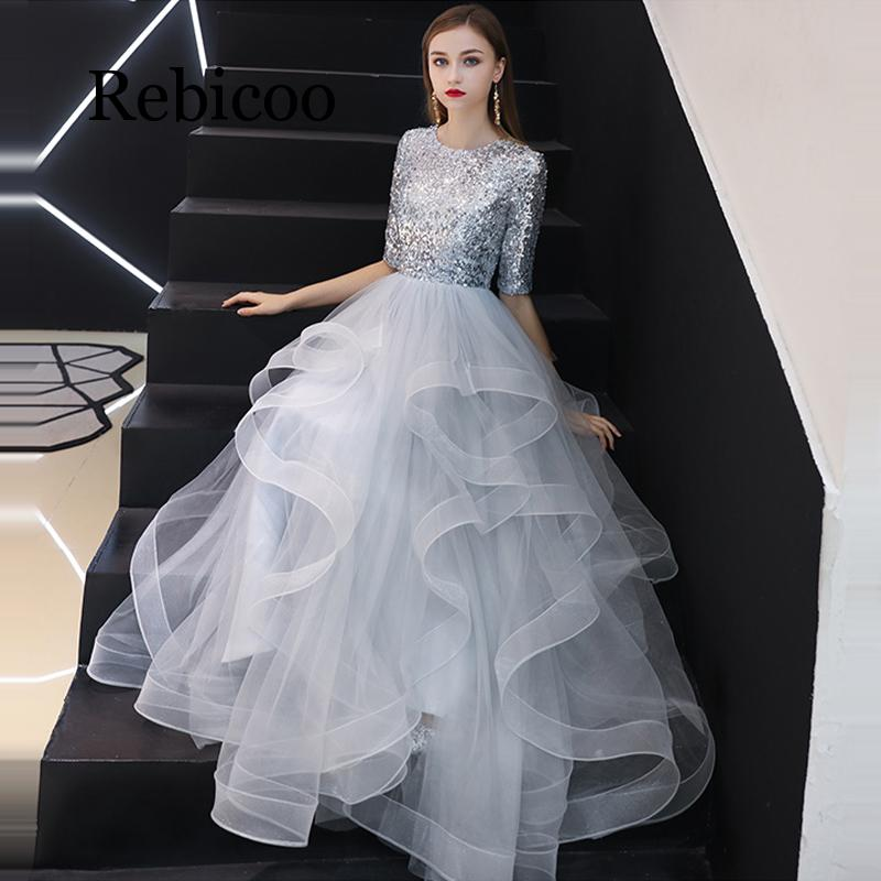 Rebicoo 2019 ภาษาฝรั่งเศสคำ Sequined ครึ่งแขน Layered Hem ชุดราตรีสีเทาเอวสูงชุดพัฟ-ใน ชุดเดรส จาก เสื้อผ้าสตรี บน   3