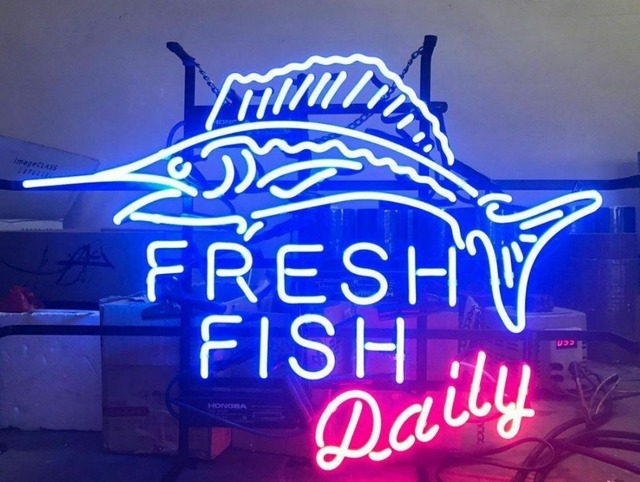 Custom Fresh Fish Daily Neon Light Sign Beer Bar