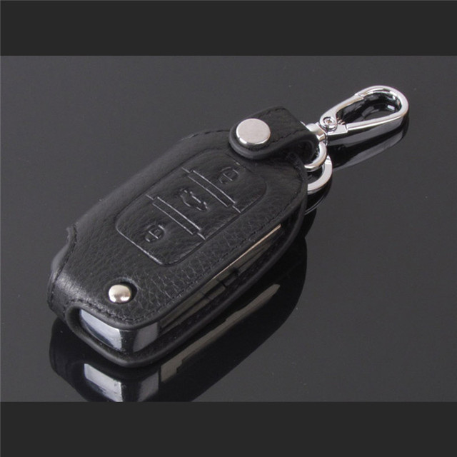 For Volkswagen golf Remote Key Chain Holder Case Cover Genuine Leather 3button
