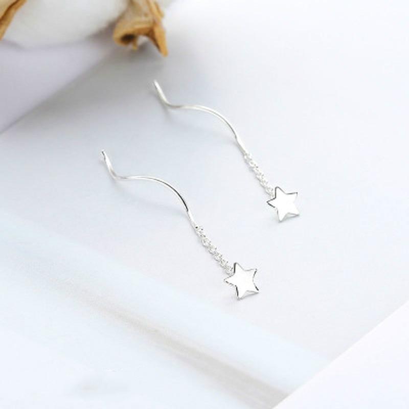 Pentagram Star Earrings for Women Trendy Tiny Silver Star Stud Dangle Chain Earrings Gifts
