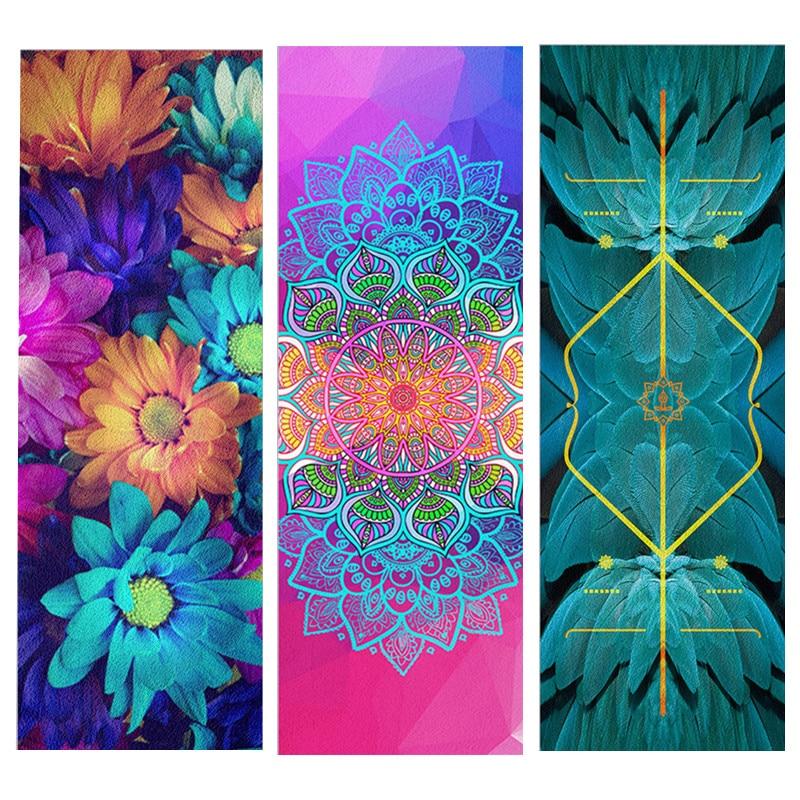 Natural Rubber Suede Yoga Mat Mandara Linear Symmetry