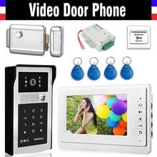 7 Inch LCD Wired Video Door Phone Doorbell Intercom Kits Electronic Door Lock RFID Keyfobs Power Exit Aluminum Alloy Case